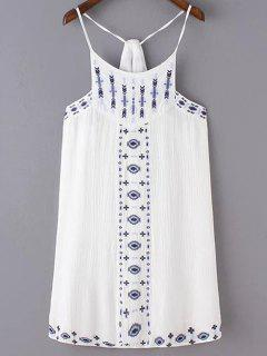 Ethnic Embroidery Cami Dress - White S