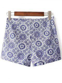 Tiny Floral Print High Waist Shorts - Blue 32
