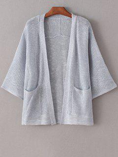 Pure Color Long Sleeve Pocket Cardigan - Gray