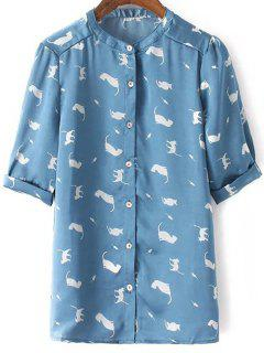 Full Kitten Stand Neck Half Sleeve Shirt - Blue S