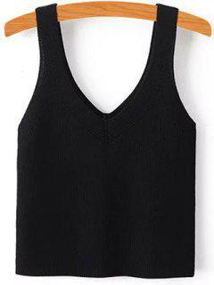 Pure Color V Neck Knit Tank Top - Black S