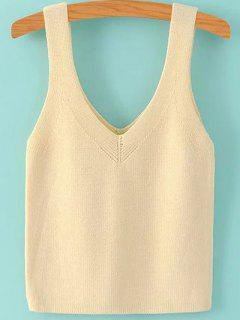 Pure Color V Neck Knit Tank Top - Beige S
