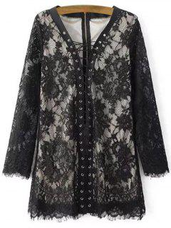 Full Lace Plunging Neck Long Sleeve Dress - Black S