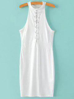 Lace Up Stand Neck Sleeveless Bodycon Dress - White S