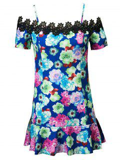 Lace Spliced Floral Print Spaghetti Straps Dress - Blue M