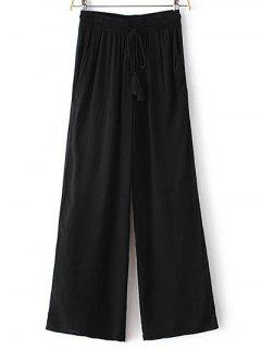 Black High Waisted Wide Leg Pants - Black Xs
