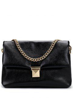 Chain Metal Solid Color Shoulder Bag - Black