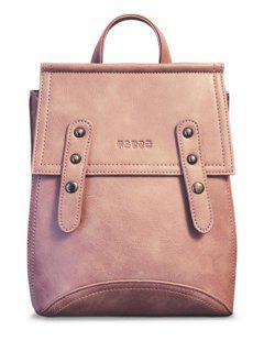 Solid Color Rivet PU Leather Satchel - Pink