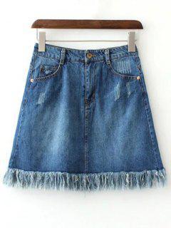 Rough Selvedge Zipper Fly Denim Mini Skirt - Blue S