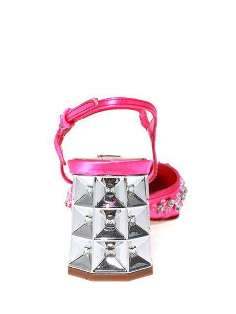 fancy Rhinestone Satin Chunky Heel Sandals - ROSE 36 Mobile