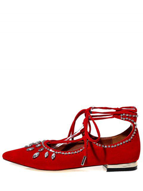 outfits Flock Rhinestone Lace-Up Flat Shoes -   Mobile
