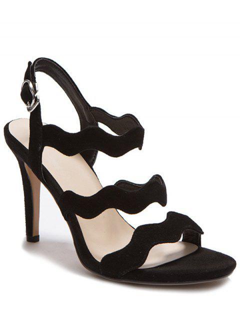 best Solid Color Suede Stiletto Heel Sandals - BLACK 38 Mobile