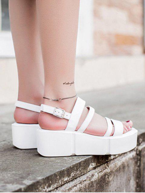 new Platform Solid Color Genuine Leather Sandals - WHITE 36 Mobile