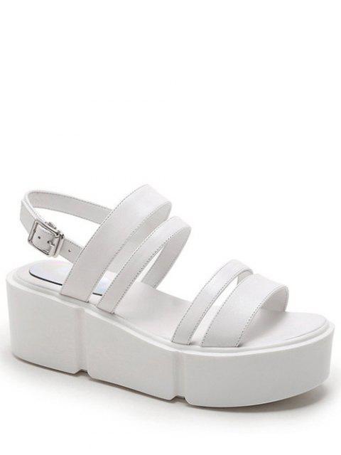 shop Platform Solid Color Genuine Leather Sandals - WHITE 39 Mobile