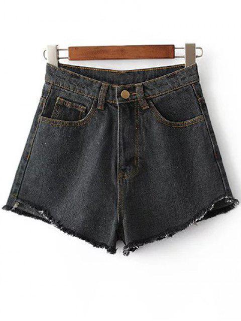 sale Fringe High Waist Denim Shorts - BLACK 24 Mobile