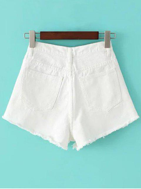 women Fringe High Waist Denim Shorts - WHITE 26 Mobile