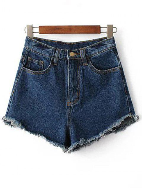 new Fringe High Waist Denim Shorts - DEEP BLUE 26 Mobile