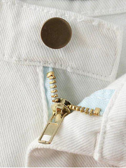 online Fringe High Waist Denim Shorts - DEEP BLUE 27 Mobile