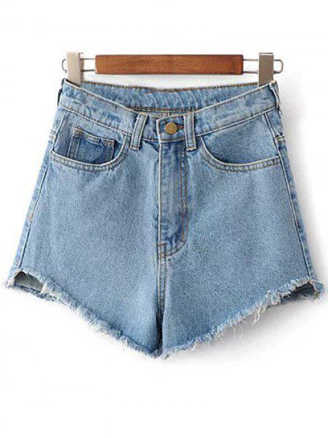 Shorts taille haute en denim avec frange - Bleu clair 25 Mobile