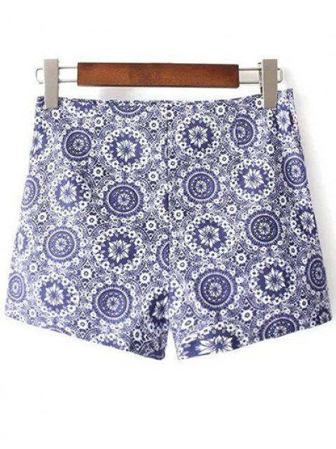 fashion Tiny Floral Print High Waist Shorts - BLUE 40 Mobile