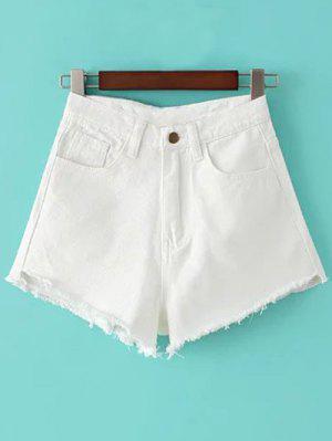 Shorts Taille Haute En Denim Avec Frange - Blanc 27