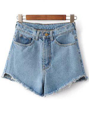 Fringe High Waist Denim Shorts - Light Blue 25