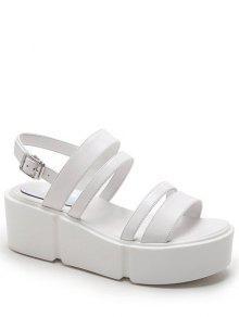 Buy Platform Solid Color Genuine Leather Sandals - WHITE 37