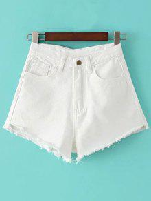 Fringe High Waist Denim Shorts - White 27