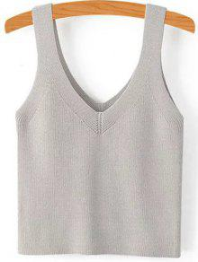 Buy Pure Color V Neck Knit Tank Top - GRAY S