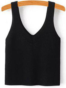 Buy Pure Color V Neck Knit Tank Top - BLACK S