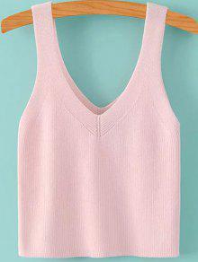 Buy Pure Color V Neck Knit Tank Top - PINK S