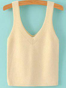 Pure Color V Neck Knit Tank Top - Beige S