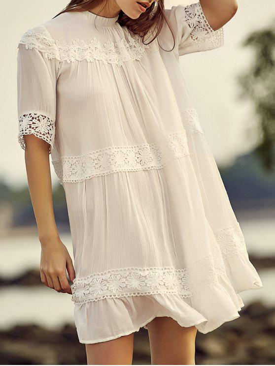 fancy White Lace Splicing Stand Neck Half Sleeve Dress - WHITE L