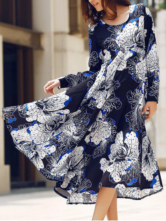 فستان ماكسي قطع الظهر دائرة الرقبة طويلة الأكمام - Colormix M
