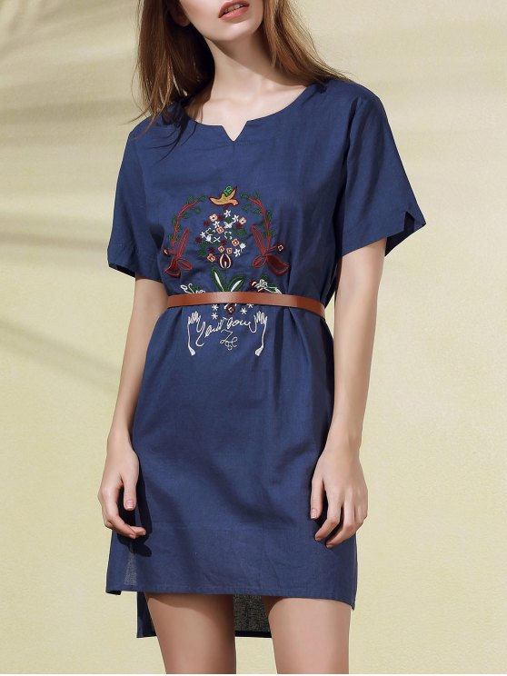 fashion High Low Embroidered Side Split Dress - BLUE ONE SIZE