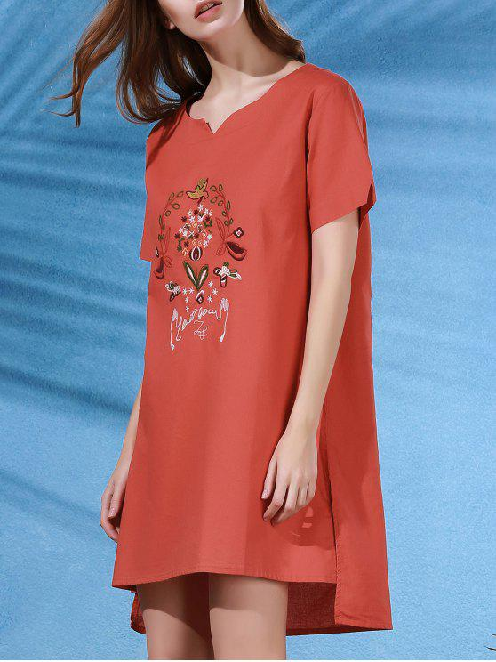 trendy High Low Embroidered Side Split Dress - JACINTH ONE SIZE