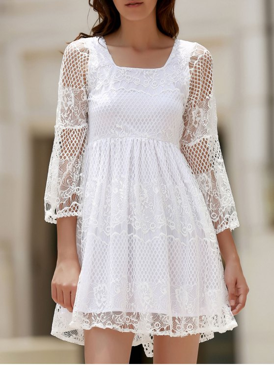 new White Lace Mesh Splicing Square Neck Flare Sleeve Dress - WHITE L