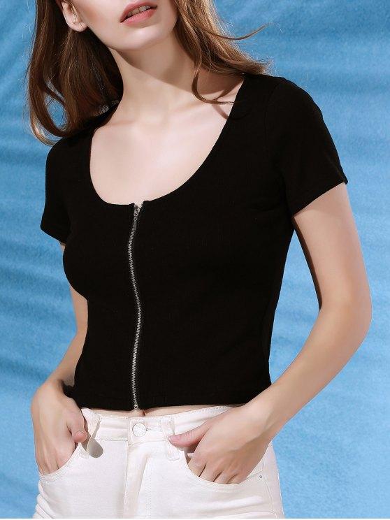 Cerniera corta manica corta T-shirt - Nero S