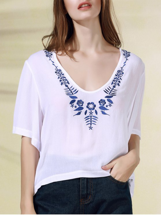 online Floral Embroidery V-Neck Half Sleeve T-Shirt - WHITE S