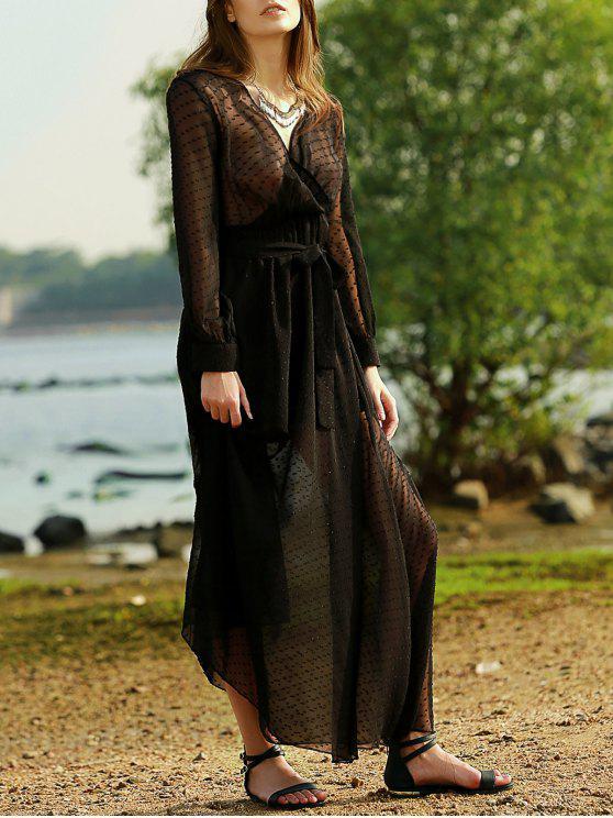 fancy Black Plunging Neck Long Sleeve Belted Maxi Dress - BLACK S