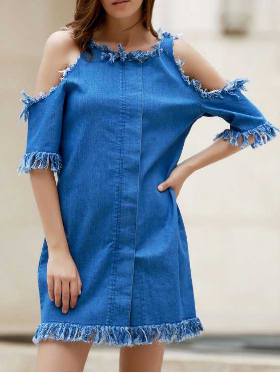 online Cut Out Frayed Denim Dress - BLUE M