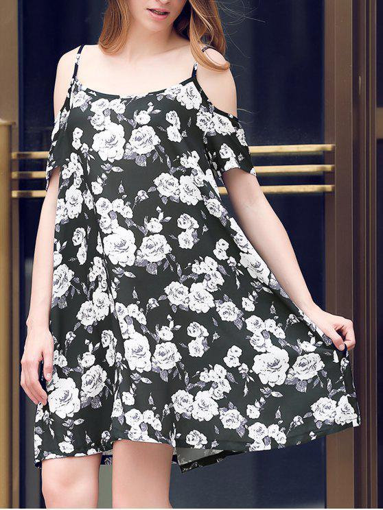 hot Full Floral Print Cami A Line Dress - BLACK M