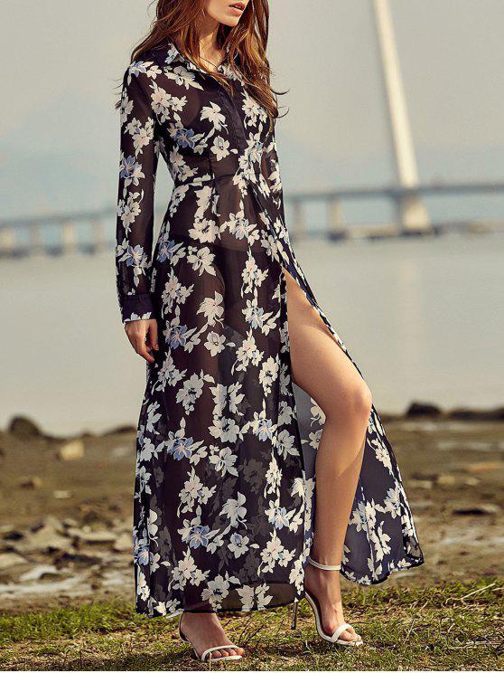 women's Vintage Floral Print Shirt Collar Long Sleeve Dress - BLACK M