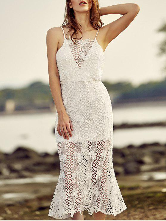 affordable Backless Spaghetti Straps Openwork Lace Dress - WHITE 2XL