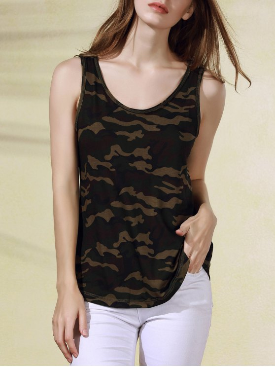 shop Military Uniform Style Scoop Neck Tank Top - ARMY GREEN CAMOUFLAGE M