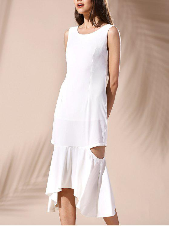 fancy Hollow Out Mermaid Dress - WHITE L
