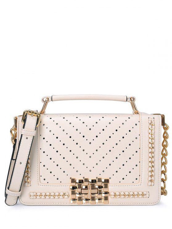 trendy Hollow Out Metal Chains Tote Bag - WHITE