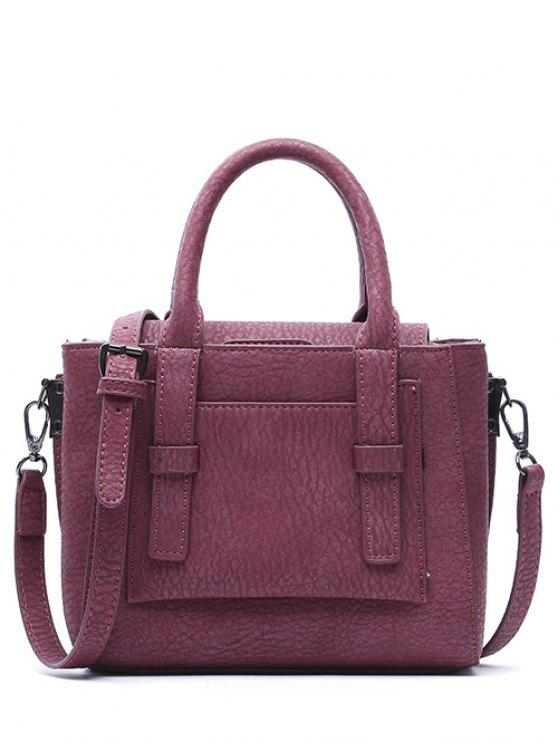 shop Straps PU Leather Solid Color Tote Bag - RED