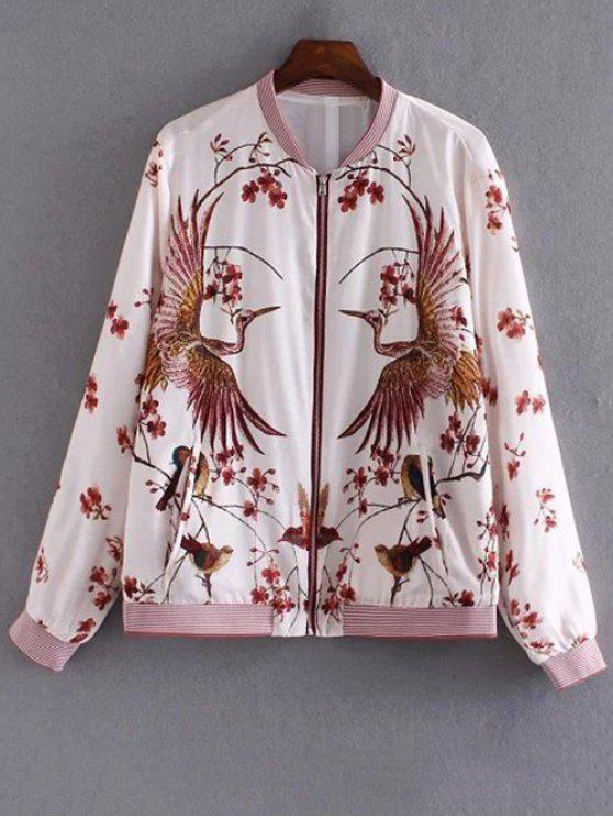affordable Bird Print Pilot Jacket - COLORMIX L