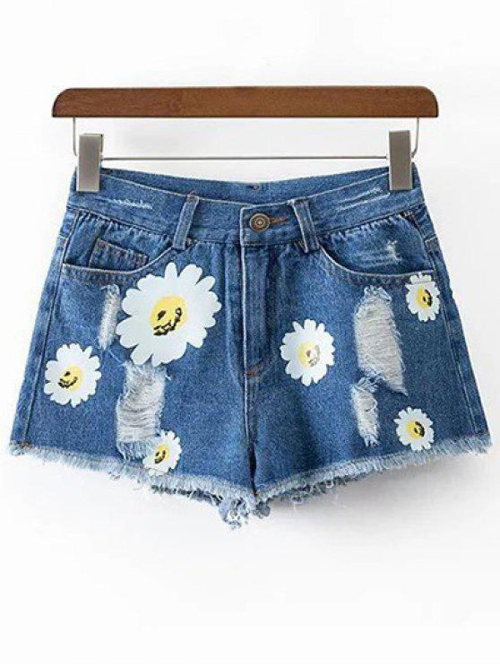 outfits Ripped Daisy Print Denim Shorts - BLUE S